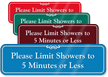 Showers Limit to 5 Minutes or Less Sign