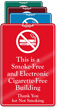 Smoke Electronic Cigarette Free Building No Smoking Sign