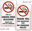 This Smoke Free Building, Thank You Sign