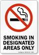 Smoking In Designated Areas Only (symbol) Sign