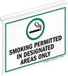 Smoking Permitted In Designated Areas Z-Sign for Ceiling