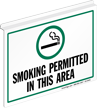 Smoking Permitted In This Area Z-Sign for Ceiling