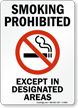 Smoking Prohibited Except Designated Areas (symbol) Sign