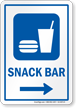 Snack Bar Right Arrow Hospital Sign
