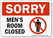 Sorry Men Room Closed Bathroom Sign