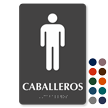 Caballeros Spanish Male Restroom Braille Sign