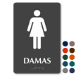 Damas Spanish Braille Restroom Sign with Female Pictogram
