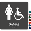 Damas SpanishTactileTouch Braille Restroom Sign
