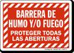 Spanish Barrera De Humo Y/O Fuego Sign