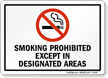 SMOKING PROHIBITED DESIGNATED AREAS Sign