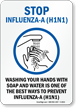 Wash Hands - Stop Influenza-A H1N1 Sign