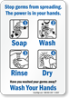 Wash Hands Sign - Prevent Swine Flu