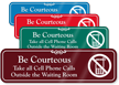 Take Cell Phone Calls Outside Showcase Sign