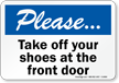 Please Take Off Your Shoes Sign