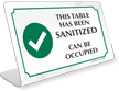 This Table Has Sanitized Can Be Occupied ShowCase Desk Sign