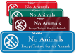No Animals Except Trained Service Animals Designer Sign