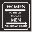 Women Left Because Men Always Right Bathroom Sign