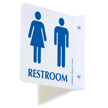 2 Sided Projecting Unisex Restroom Sign