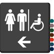Restrooms Men Women Left Arrow Sign