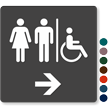 Restrooms Men Women Right Arrow Sign