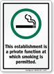 establishment private function smoking is permitted. Sign
