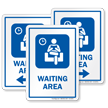Waiting Area Sign with Public Room Symbol