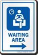 Waiting Area Right Arrow Hospital Sign