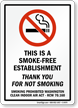 This Is A Smoke-Free Establishment Sign