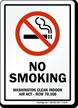 No Smoking Washington Indoor Air Act Sign