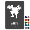 Weight-Lifting Man Braille Restroom Sign
