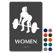 Weight-Lifting Woman Braille Restroom Sign