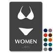 Bikini Women Braille Restroom Sign