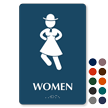 Women Braille Restroom Sign with Dancing Woman Graphic