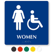 Women And Accessible Pictogram Braille Restroom Sign