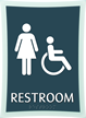 Deco Bathroom Sign with Women and Handicapped Symbols