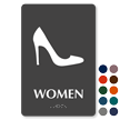 Women Heels Braille Restroom Sign