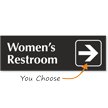 Womens Restroom Engraved Arrow Sign