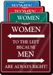 Women To The Left Humorous Restroom Sign