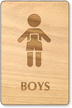Boys Wooden Restroom Sign