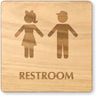 Boy And Girl Symbol Unisex Wooden Restroom Sign