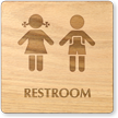 Girls And Boys Symbol Unisex Wooden Restroom Sign