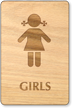 Girls Wooden Restroom Sign