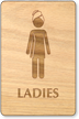 Ladies In Towel Woman Wooden Restroom Sign