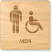 Men And Accessible Symbol Wooden Restroom Sign