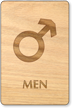 Men Mars Symbol Wooden Restroom Sign