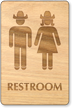 Cowboy And Cowgirl Unisex Wooden Restroom Sign