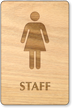 Female Staff Wooden Restroom Sign