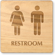 Men And Women Unisex Wooden Restroom Sign