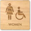 Women And Accessible Symbol Wooden Restroom Sign
