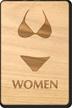 Women Bikini Symbol Wooden Restroom Sign